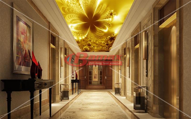 Altın baskılı HD Gergi Tavan