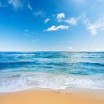 Gergi tavan sahil ve bulut görseli baskı yapılmaktadır