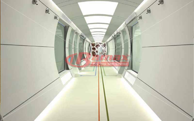 Hastane koridorlarında gergi tavan uygulamaları