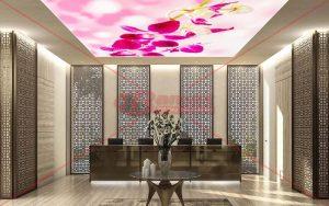 Çiçek baskılı HD Gergi Tavan
