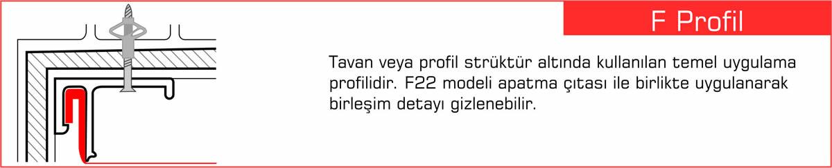 F profili, Gergi Tavan Profilleri, Germe Tavan Profili