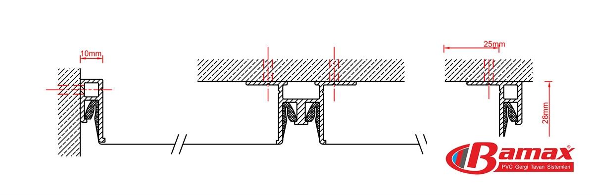 Gergi Tavan Teknik Bilgiler, gergi tavan uygulama çizimi