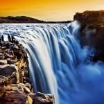 İzlanda Dettifoss Şelalesi , Gün batımı ve şelale, su, şelale, gün batımı,