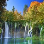 Sonbaharda milli park Hirvatistan plitvice gölleri.
