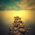 Minimalist manzara görseli. Gün batımı gergi tavan baskı görseli