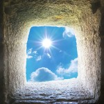 Taş oyuk içerisinden güneşli bir gökyüzü , gergi tavan baskı görseli