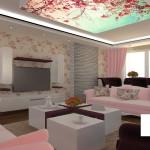 Oturma odalarında ve evlerde dijital baskı gergi tavan uygulaması
