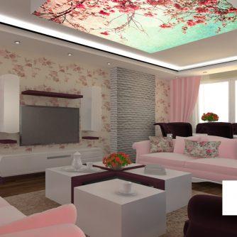 Dijital baskı gergi tavan sistemleri oturma odası uygulaması