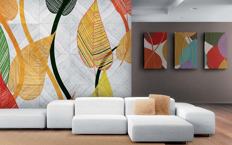 Baskılı Duvar Kağıdı Örnekleri, oturma odası duvar kağıdı uygulaması
