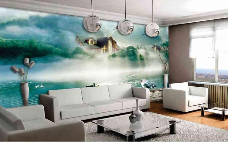 Baskılı Duvar Kağıdı Örnekleri, oturma odası duvar kağıdı uyugulaması